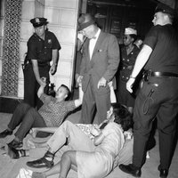 photo of Arnie Goldwag, Brooklyn CORE, arrested at Board of Education protest